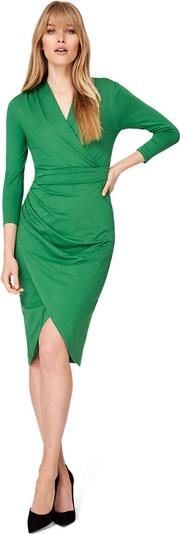 Green Aurelia Wrap Jersey Dress