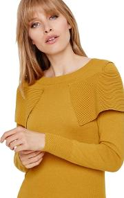Mustard Agnes Fold Over Knitted Jumper