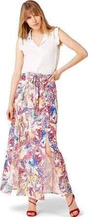 Mutli Coloured Audrina Print Maxi Skirt