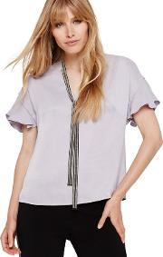 Silver Marianna Beaded Collar Blouse