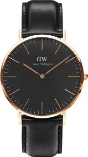 Classic Black Sheffield With Black Leather Strap And Rose Gold Case Watch