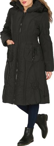 Black Stripe Quilted Hooded Coat