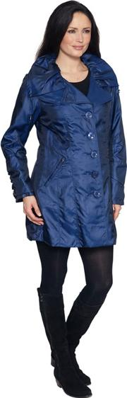 Blue Drawstring Collar Raincoat