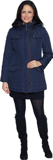 Navy Diamond Stitch Parka