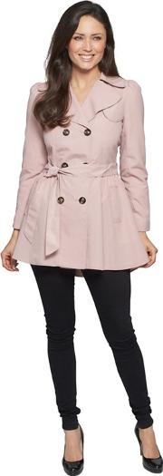 Pink Ruched Slim Fit Trench Coat