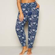 Beach Collection Navy Floral Leaf Print Trousers