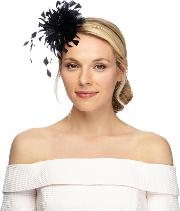 Black Curled Feather Fascinator