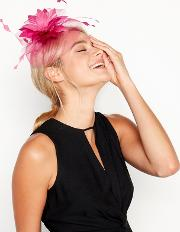 Bright Pink Feather Flower Cloud Fascinator