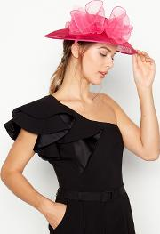 Bright Pink Oversize Bow Saucer Fascinator
