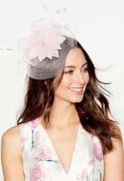 Light Pink Feather Flower Fascinator