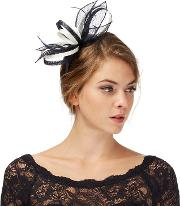Navy And Ivory Feather Fascinator
