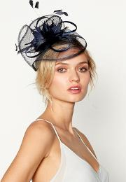 Navy Feather Fascinator