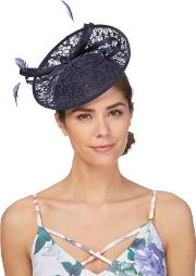 Navy Floral Lace Fascinator