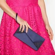 Navy Glitter Satin Clutch Bag