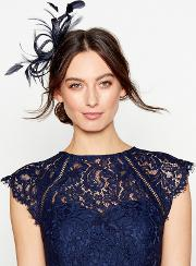 Navy Loop & Feather Hair Clip Fascinator