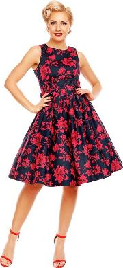 Red Annie Floral Swing Dress