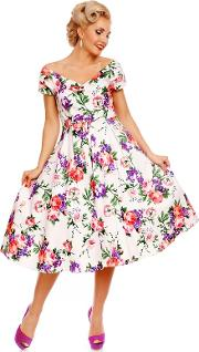White Lily Floral Short Sleeved Dress