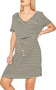 Black And Ivory Striped T Shirt Dress