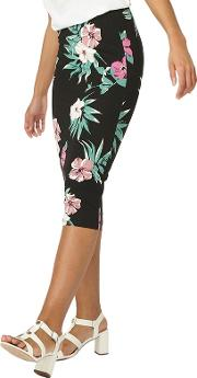 Black And Pink Floral Pencil Skirt