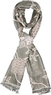 Grey And Pink Oriental Bird Print Jacquard Scarf