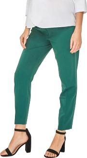 Maternity Forest Green Ankle Grazer Trousers