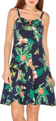 Navy Floral Print Strappy Camisole Sundress