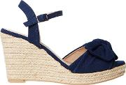 Navy Rolo Bow Wedges