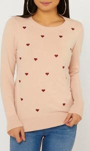 Petite Heart Print Embroidered Jumper