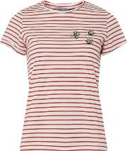Petite Red Embroidered Stripe Print T Shirt