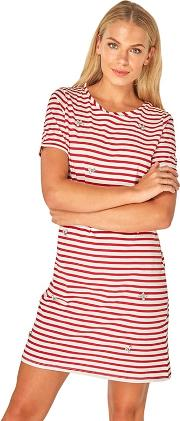Red Striped Embroidered Shift Dress