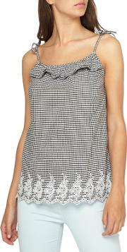 Tall Gingham Embroided Camisole Top