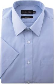 Blue Short Sleeve Classic Cotton Blend Shirt
