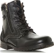 Black cascade Shearling Lined Lace Up Boots