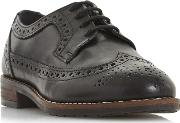 Black Leather felixe Block Heel Brogues