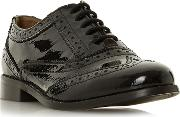 Black Leather florrence Block Heel Brogues