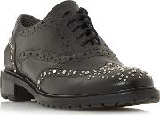 Black Leather francis Block Heel Brogues