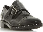 Black Leather gryffin Block Heel Brogues