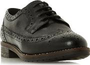 Black Leather wf Felixe Block Heel Wide Fit Brogues