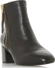 Black Leather wf Orlla Mid Block Heel Wide Fit Ankle Boots