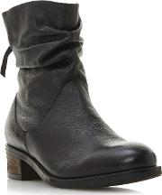 Black Leather wf Pagerss Block Heel Wide Fit Ankle Boots