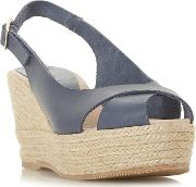 Navy Leather kyri High Wedge Heel Espadrilles