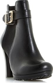 Black orine Buckle Strap Heeled Ankle Boots