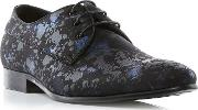 Black porzana Feather Print Lace Up Gibson Shoes