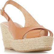 Tan Leather kyri High Wedge Heel Espadrilles