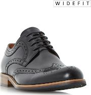 Black wradcliffe Wide Fit Derby Brogue Shoes