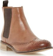 Brown Leather Brogue Chelsea Boot