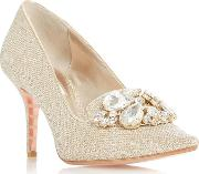 Gold bordeaux Mid Stiletto Heel Court Shoes