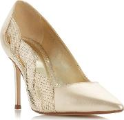 Gold Leather brylai Mid Stiletto Heel Court Shoes