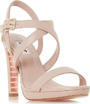 e90620cb1a Light Pink Leather misstee High Stiletto Heel Ankle Strap Sandals. dune