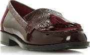 Maroon Leather greatly Block Heel Loafers